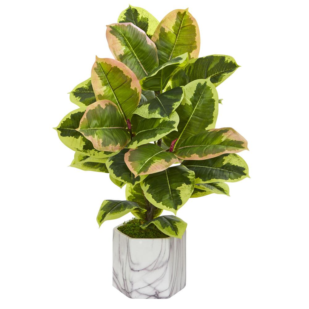 Nearly Natural Indoor Rubber Leaf Artificial Plant In Marble Finished Vase 8137 The Home Depot