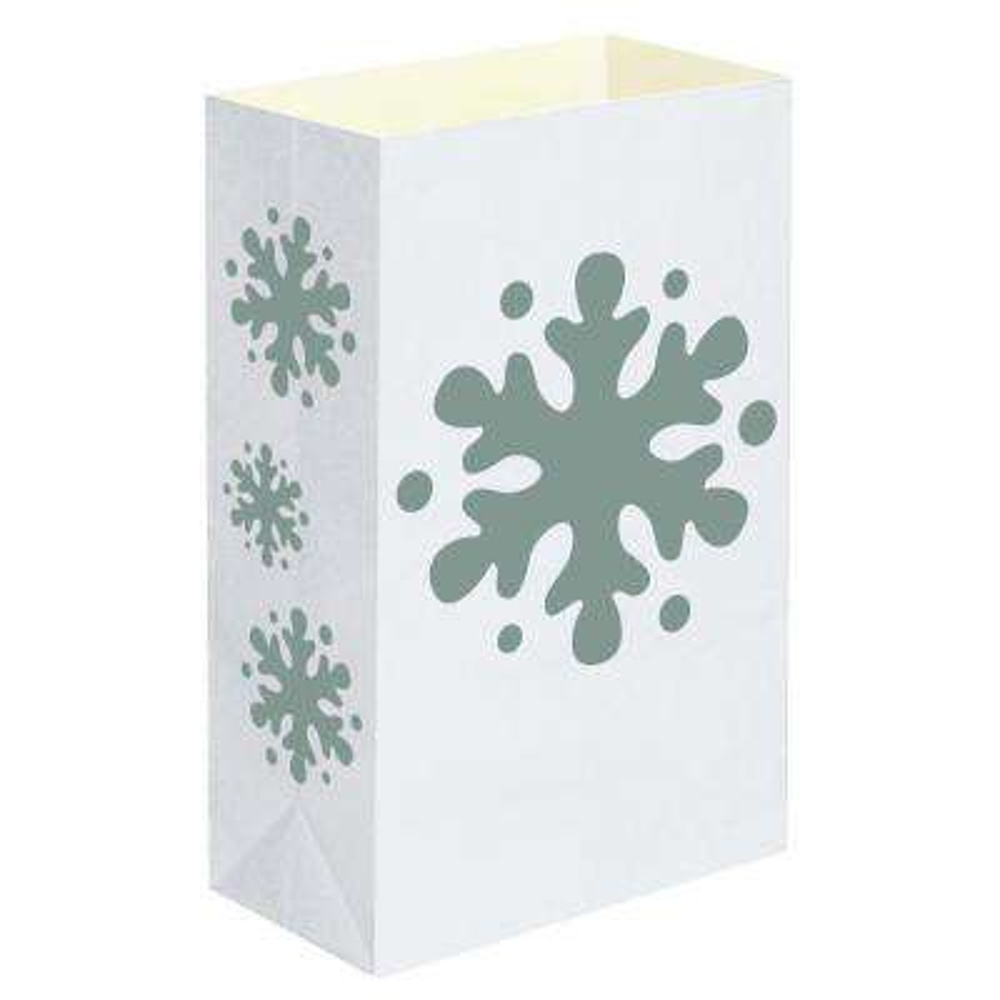 Plastic Snowflake Luminaria Bags (12-Count)