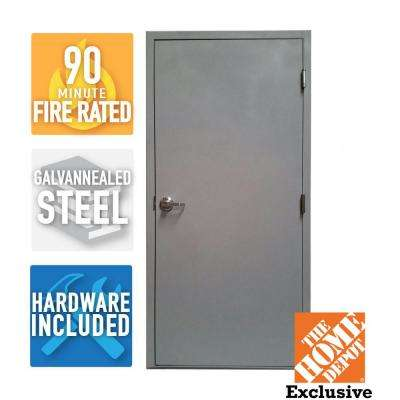 36 in. x 80 in. Fire-Rated Gray Left-Hand Flush Entrance Steel Commercial Door with Welded Frame and Hardware