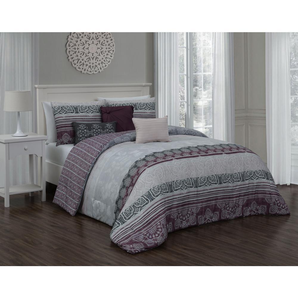 Ellisa 7-Piece Plum King Comforter w/Bedskirt Set