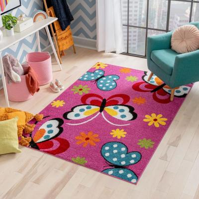 StarBright Daisy Butterflies Pink 3 ft. x 5 ft. Kids Area Rug