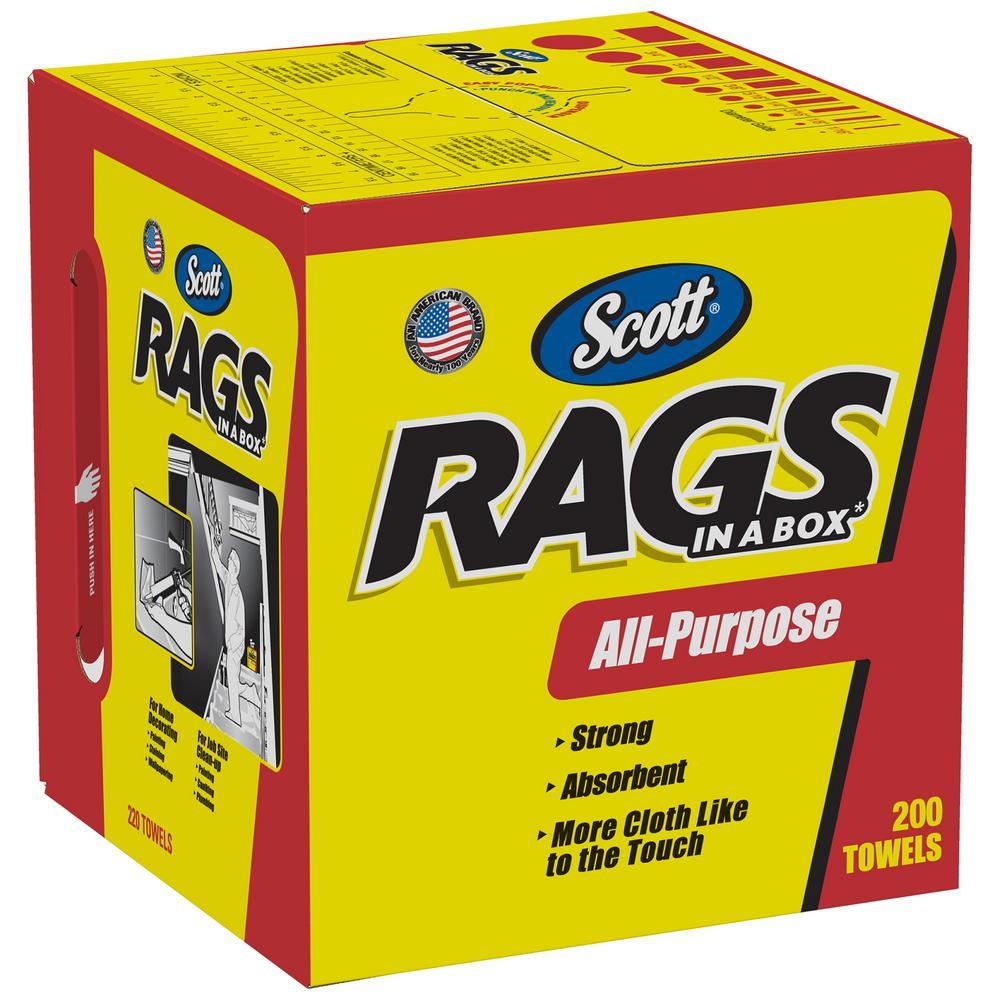 Scott Rags in A Box in White - 200-Shop Towels per Box