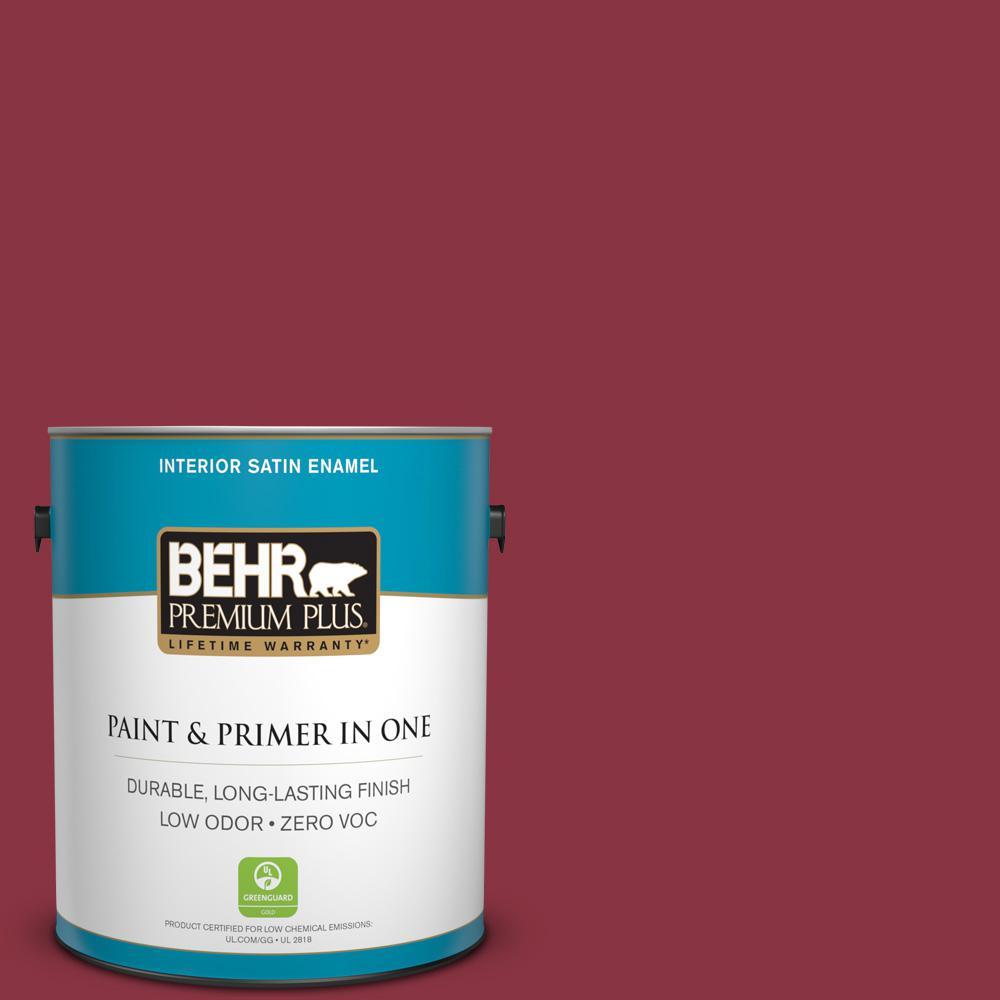 1 gal. #PPU1-10 Forbidden Red Zero VOC Satin Enamel Interior Paint