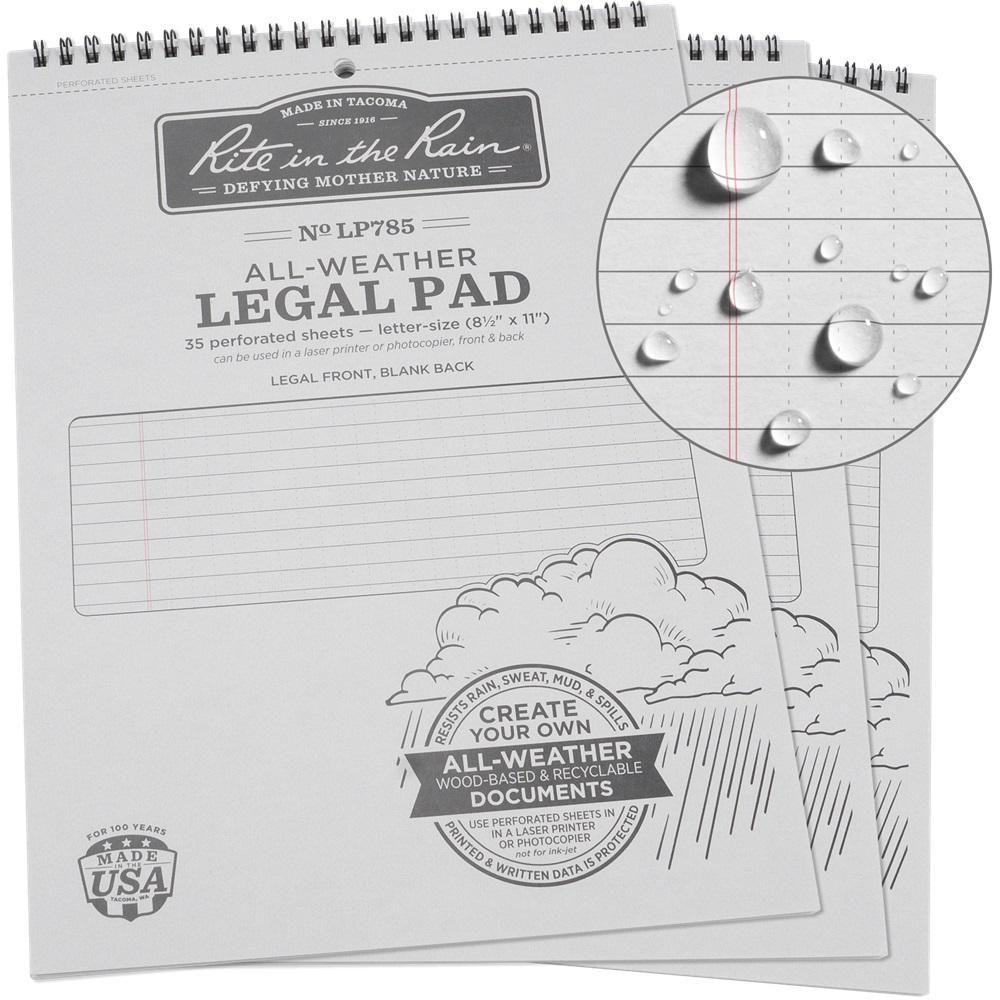 All-Weather 8-1/2 in. x 11 in. Legal Pattern Pad, Gray Cover