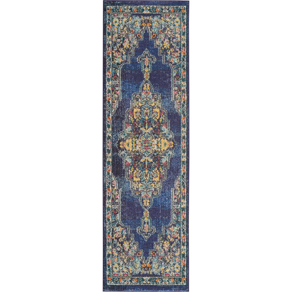 Passionate 8' Runner Dark Blue Multicolor Kashan Area Rug