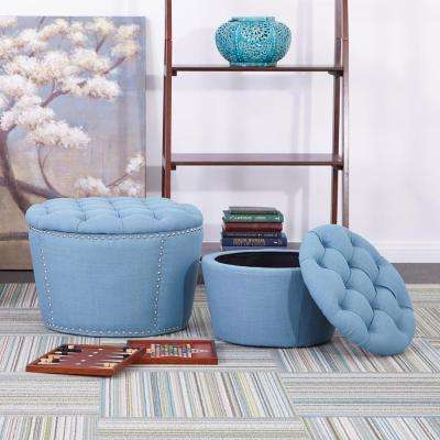 Lacey Tufted Storage Ottoman Set in Blue
