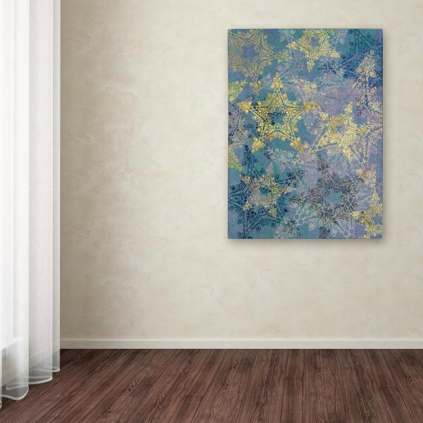 """Trademark Fine Art 19 in. x 14 in. """"Star Pattern Blue and Gold"""" by Cora Niele Printed Canvas Wall Art"""