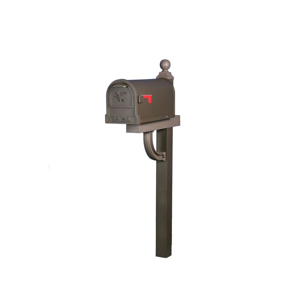 Aberdeen Decorative Classic Style Steel Mailbox and Post Combo in Textured