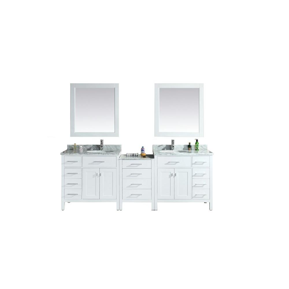 Design Element London 92 In W X 22 In D Double Vanity In White With Marble Vanity Top And Mirror In Carrara White Dec076d W 92 The Home Depot