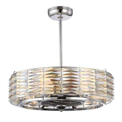 Vince 29.5 in. Indoor Polished Chrome Ceiling Fan with Light