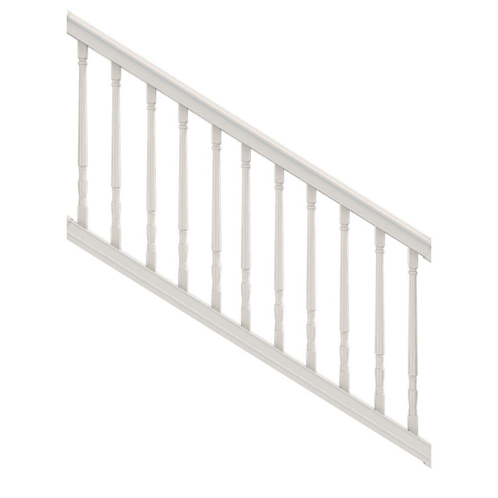 Veranda premier 6 ft x 36 in vinyl stair rail with colonial balusters white 73012468 the - Vinyl railing reviews ...