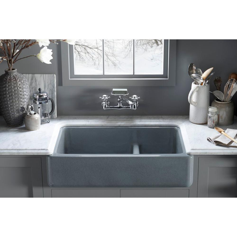KOHLER Whitehaven Smart Divide Farmhouse Apron-Front Cast Iron 36 in.  Double Basin Kitchen Sink in Black Black