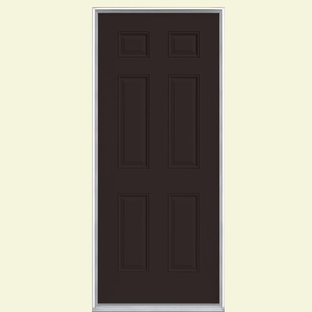 Masonite 36 in. x 80 in. 6-Panel Right-Hand Inswing Painted Steel Prehung Front Door No Brickmold