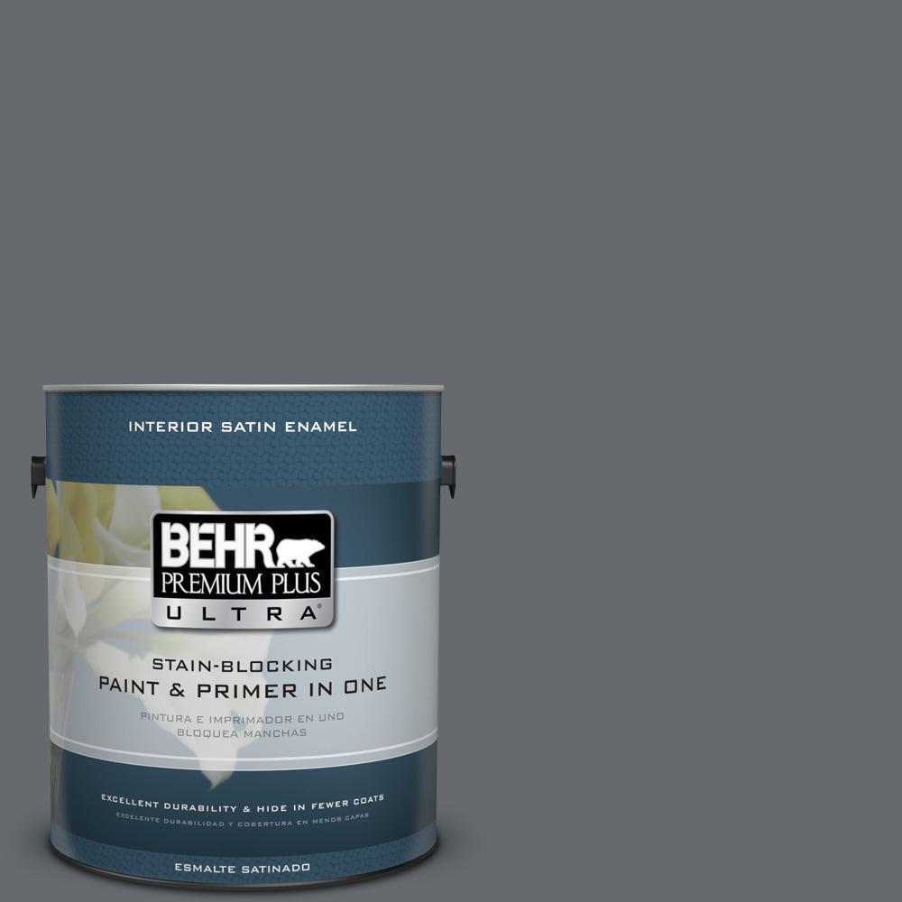 1 gal. #HDC-CL-04G Liberty Bell Gray Satin Enamel Interior Paint