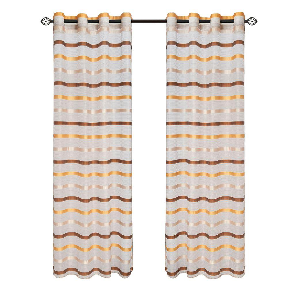 Lavish Home Coffee/Yellow Arla Grommet Curtain Panel, 108 in. Length