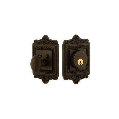 Egg & Dart Plate 2-3/8 in. Backset Single Cylinder Deadbolt in Oil-Rubbed Bronze