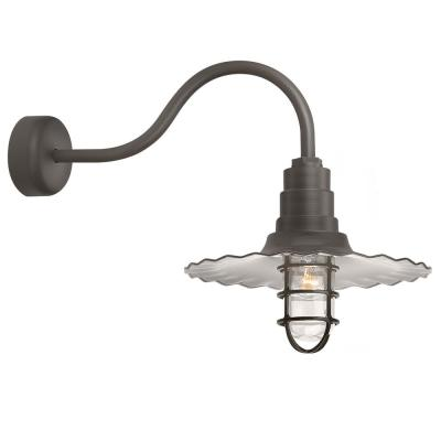 Radial Wave 16 in. Shade 23 in. Arm 1-Light Textured Bronze Clear Glass Lens Outdoor Wall Mount Sconce
