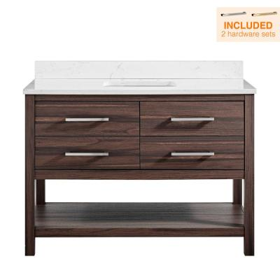 48 in. W x 22 in. D Vanity in Coffee Oak with Engineered Vanity Top in Carrara with White Basin