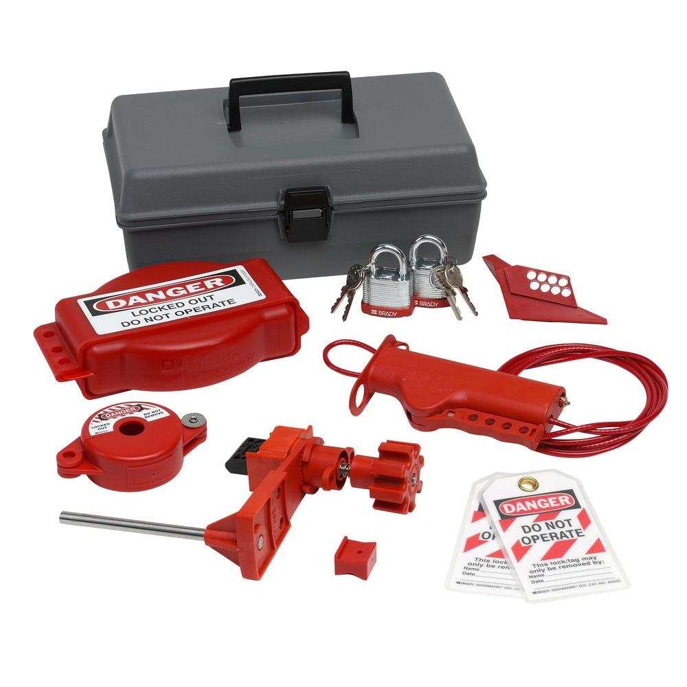 Valve Lockout Toolbox Kit with Steel Padlocks and Tags