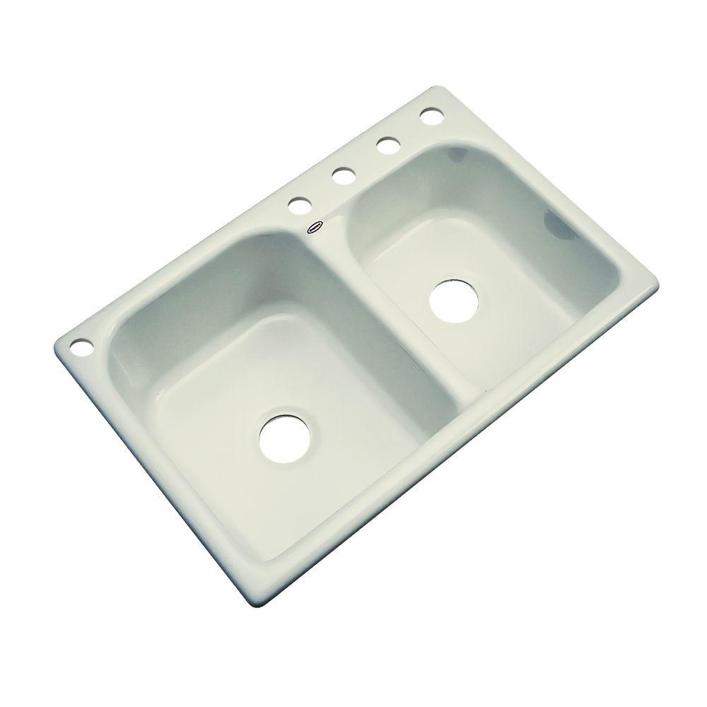Thermocast Cambridge Drop-In Acrylic 33 in. 5-Hole Double Bowl Kitchen Sink in Jersey Cream