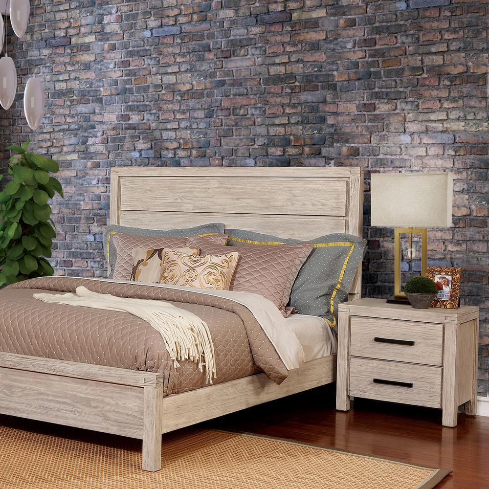 Furniture of America Stewart 2-Drawer Wire-Brushed White Nightstand