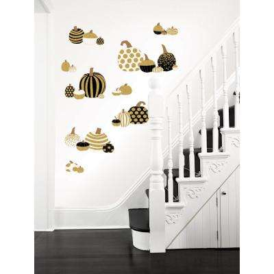 39 in. x 34.5 in. Gold Pumpkins Large Wall Art Kit