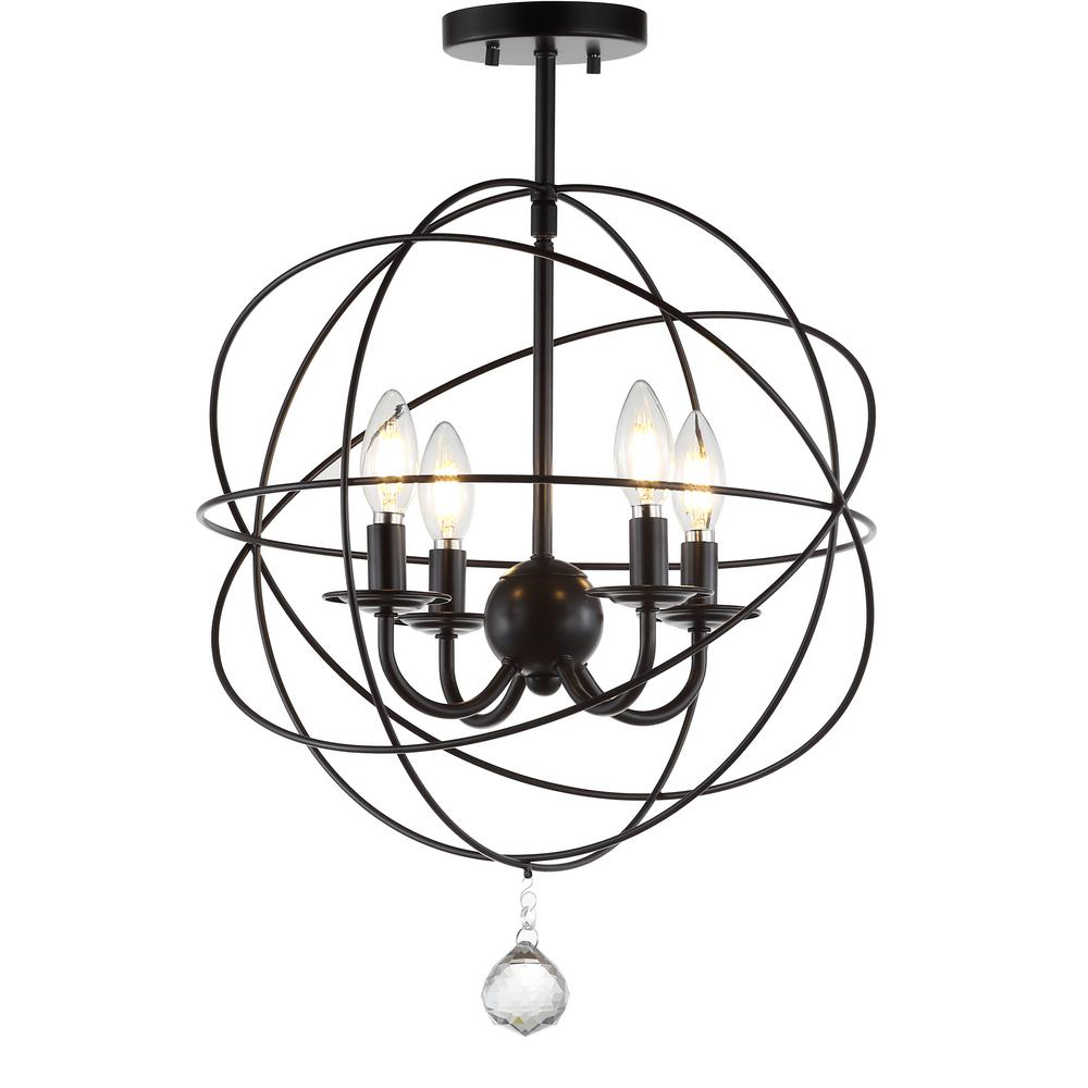 JONATHAN Y Alma 12 in. Oil Rubbed Bronze Metal LED Flush Mount