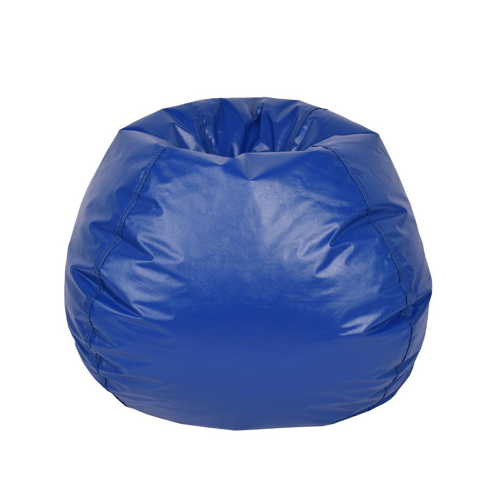 Blue Vinyl Bean Bag
