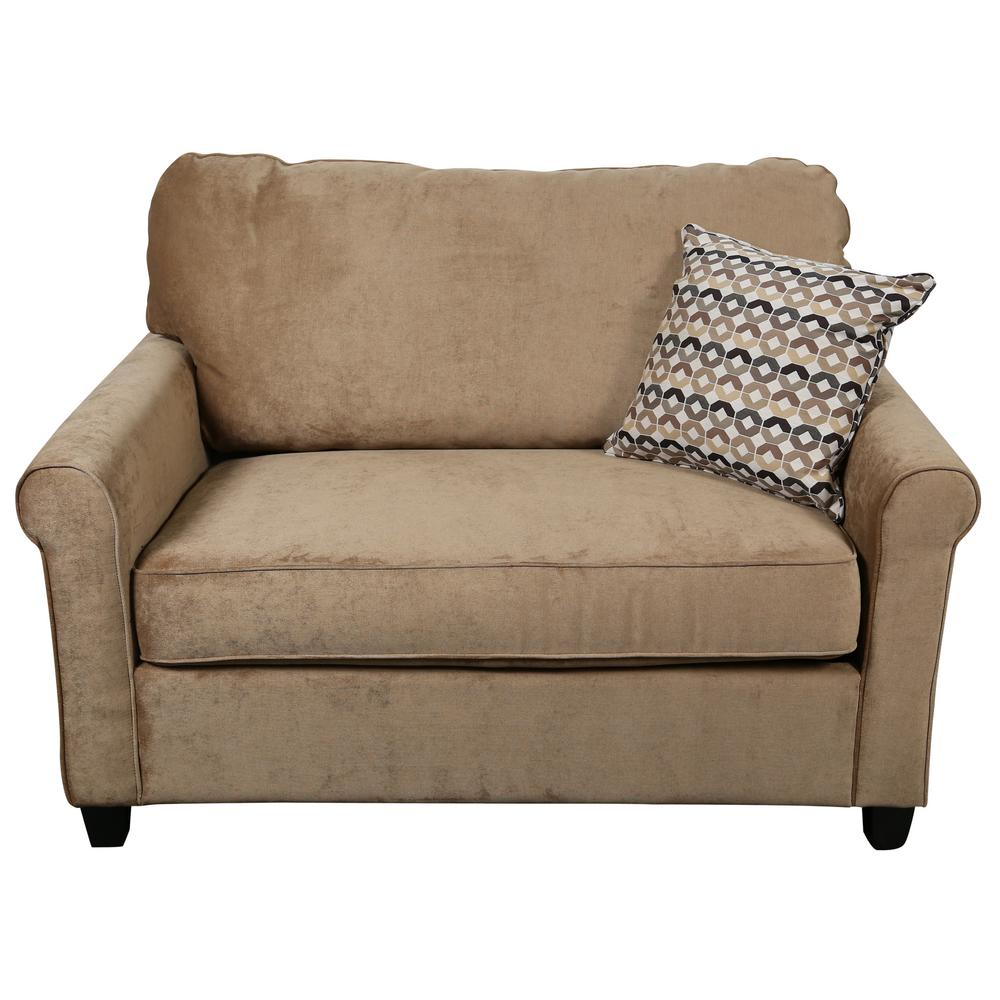 Serena Khaki Plush Microfiber Twin Sleeper Sofa