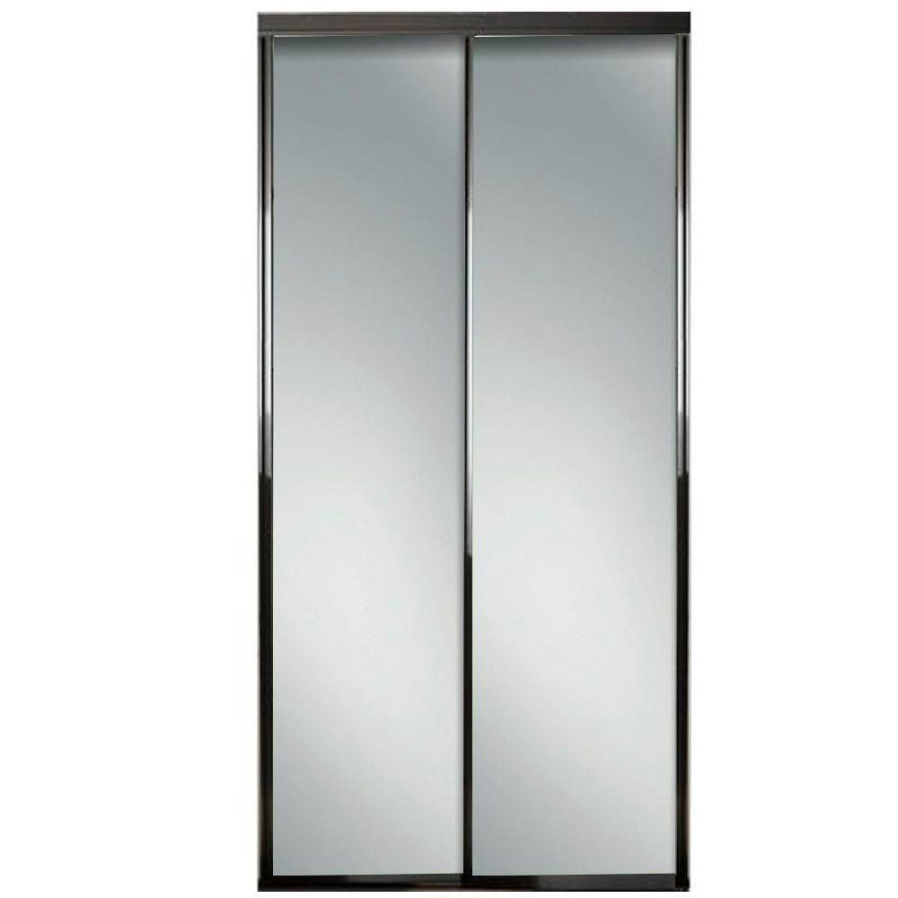72 in. x 81 in. Concord Bronze Aluminum Frame Mirrored Interior Sliding Door