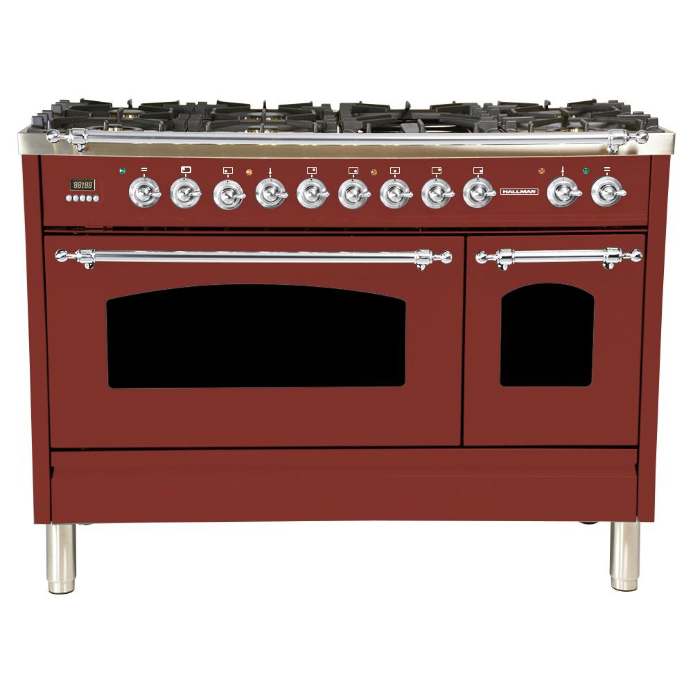 Hallman 48 in. 5.0 cu. ft. Double Oven Dual Fuel Italian Range True Convection, 7 Burners, Griddle, Chrome Trim in Burgundy