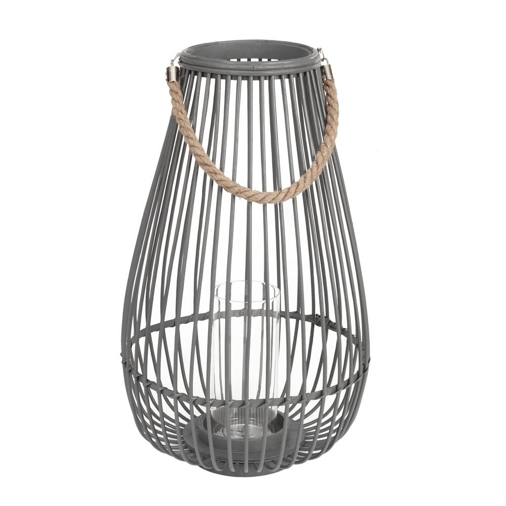 22 in. Wood and Metal Outdoor Patio Lantern