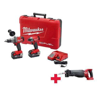 M18 FUEL 18-Volt Lithium-Ion Cordless Brushless Hammer Drill/Impact Driver Combo Kit with Free FUEL Sawzall