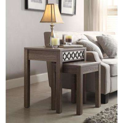 Helena Greco Oak  Nesting Tables with Mirror Accent Panel