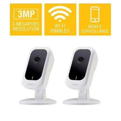 3MP Wi-Fi IP Mini Cube Security Camera with 16GB SD Card (2-Pack)