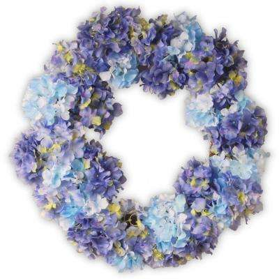 25 in. Garden Accents Blue Hydrangea Wreath
