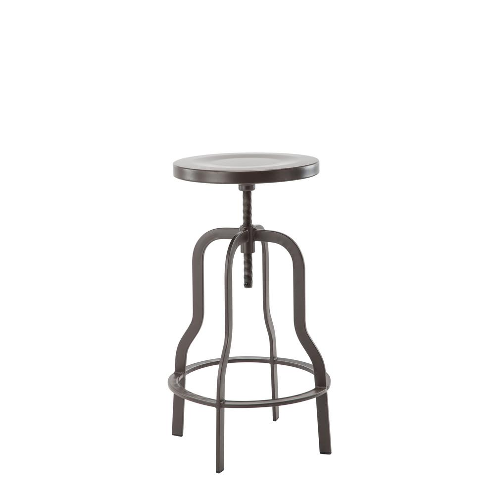 High Gun Metal Swiveling Bar Stool With Metal Top