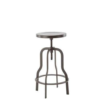 Adjustable 36 in. High Gun Metal Swiveling Bar Stool with Metal Top