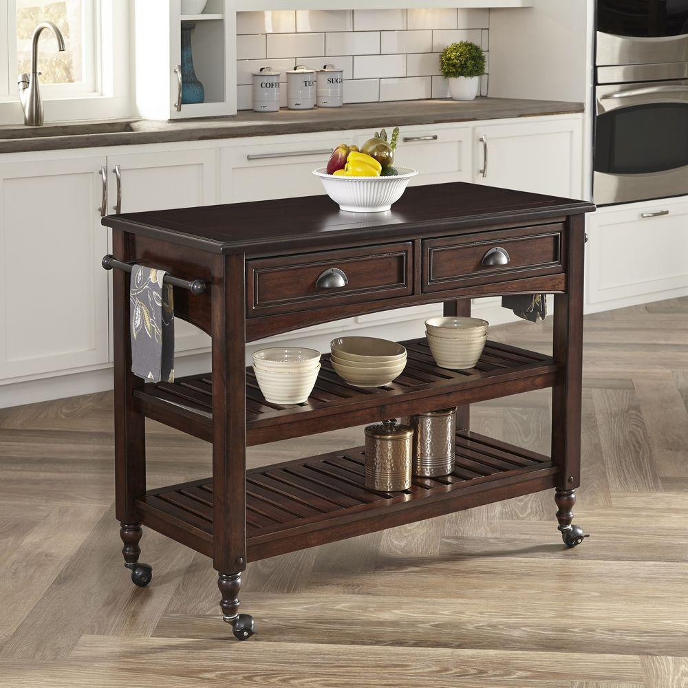 Home Styles Country Comfort Aged Bourbon Kitchen Cart With Wood Top