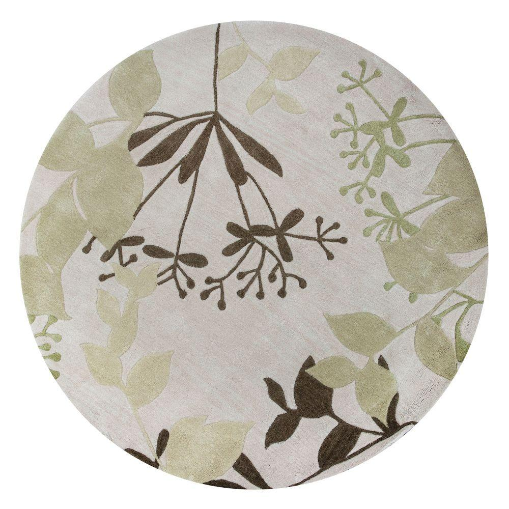 Kas Rugs Eden Ivory 5 ft. 6 in. x 5 ft. 6 in. Round Area Rug