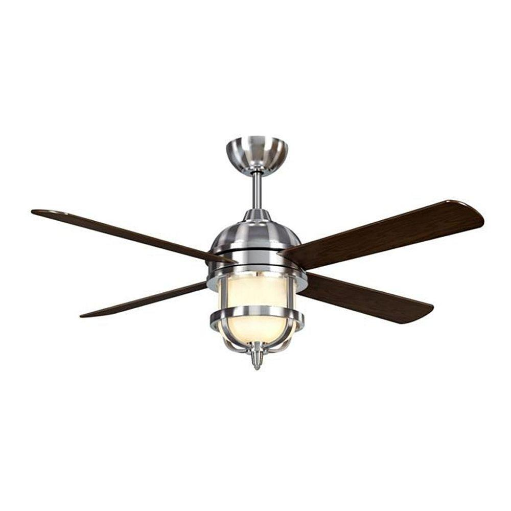 Hampton bay southwind 52 in led indoor brushed nickel ceiling fan led indoor brushed nickel ceiling fan with light kit and remote control 52379 the home depot aloadofball Images