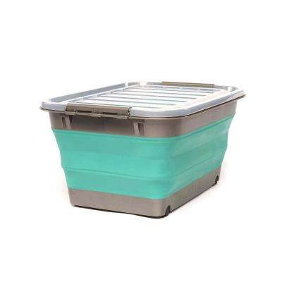 Store N Stow 12-Gal. Collapsible Storage Container with Wheels in. Grey and Teal Base with Clear Lid (4-Pack)