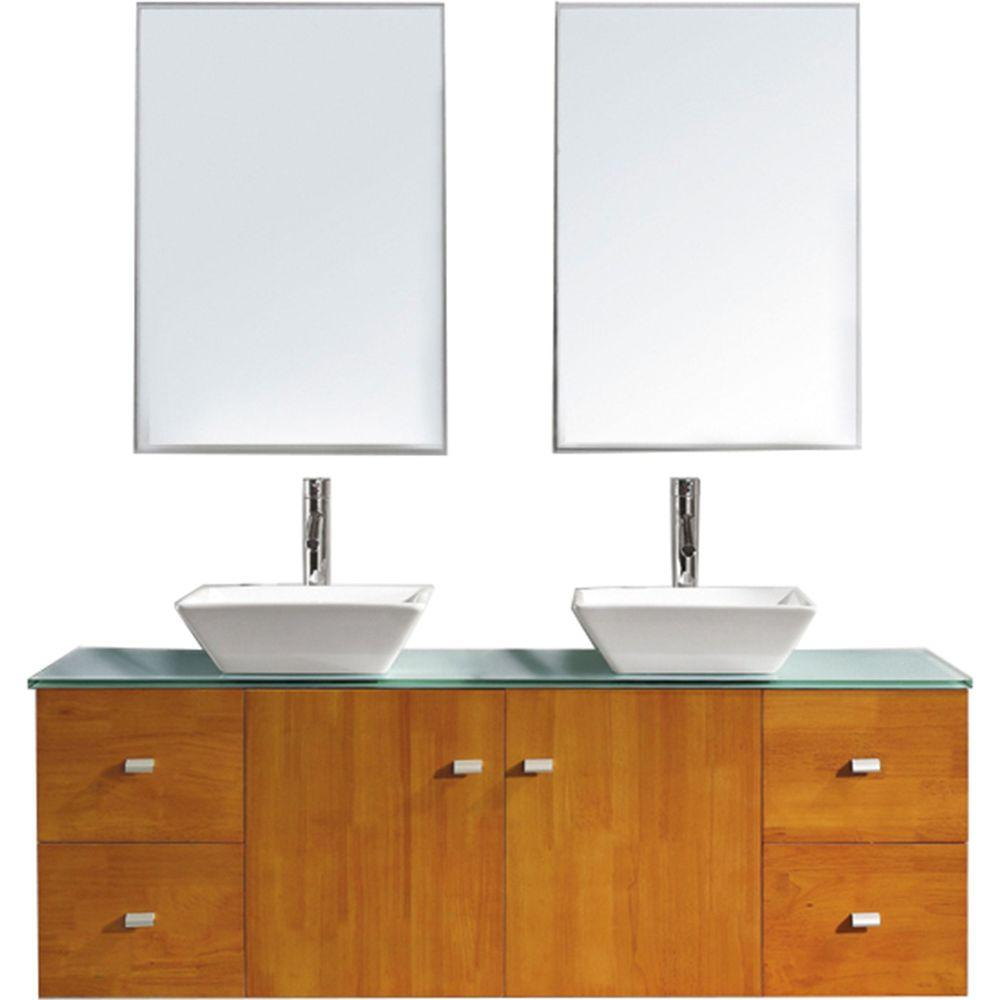 Virtu USA Clarissa 60 in. W Bath Vanity in Honey Oak with Glass Vanity Top in Aqua with Square Basin and Mirror and Faucet