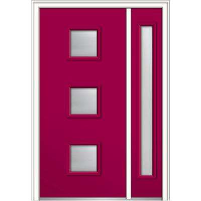 50 in. x 80 in. Aveline Frosted Glass Left-Hand 3-Lite Midcentury Painted Steel Prehung Front Door with Sidelite