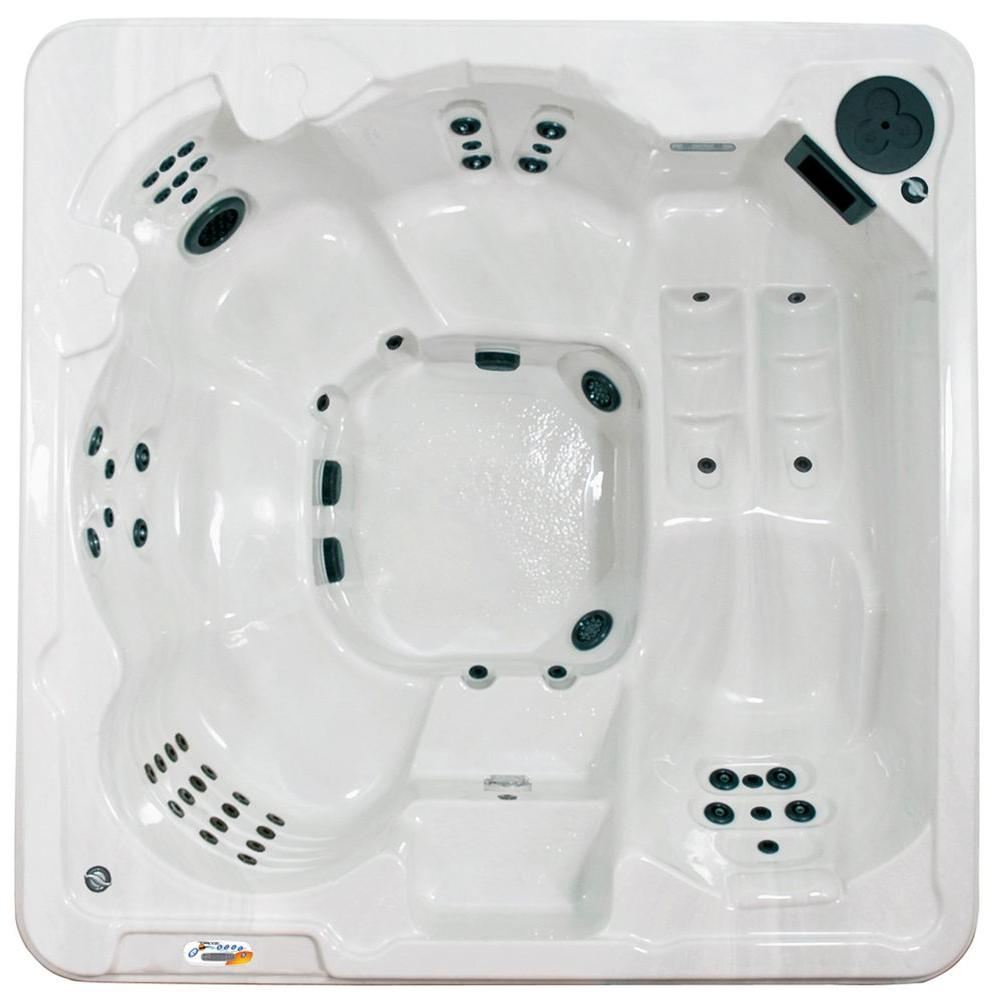 QCA Spas Cantania 6-Person 70-Jet Spa with Bromine System, LED Light, Polar Insulation, Collar Jets and Hard Cover