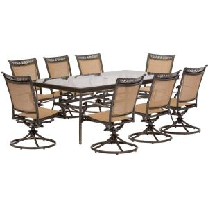 Hanover Fontana 9-Piece Aluminum Rectangular Outdoor Dining Set with Swivels and Glass-Top Table by Hanover