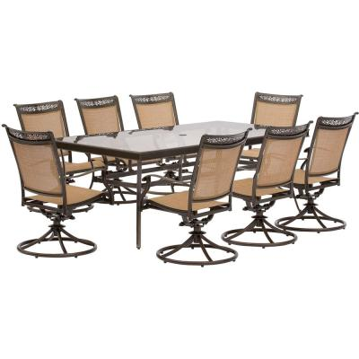 Fontana 9-Piece Aluminum Rectangular Outdoor Dining Set with Swivels and Glass-Top Table