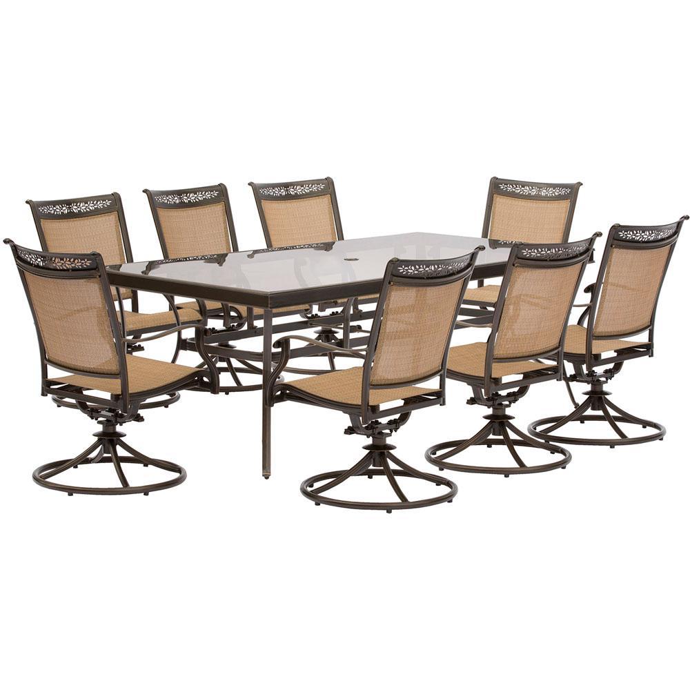 Fontana 9 Piece Aluminum Rectangular Outdoor Dining Set With Swivels And  Glass Top Table