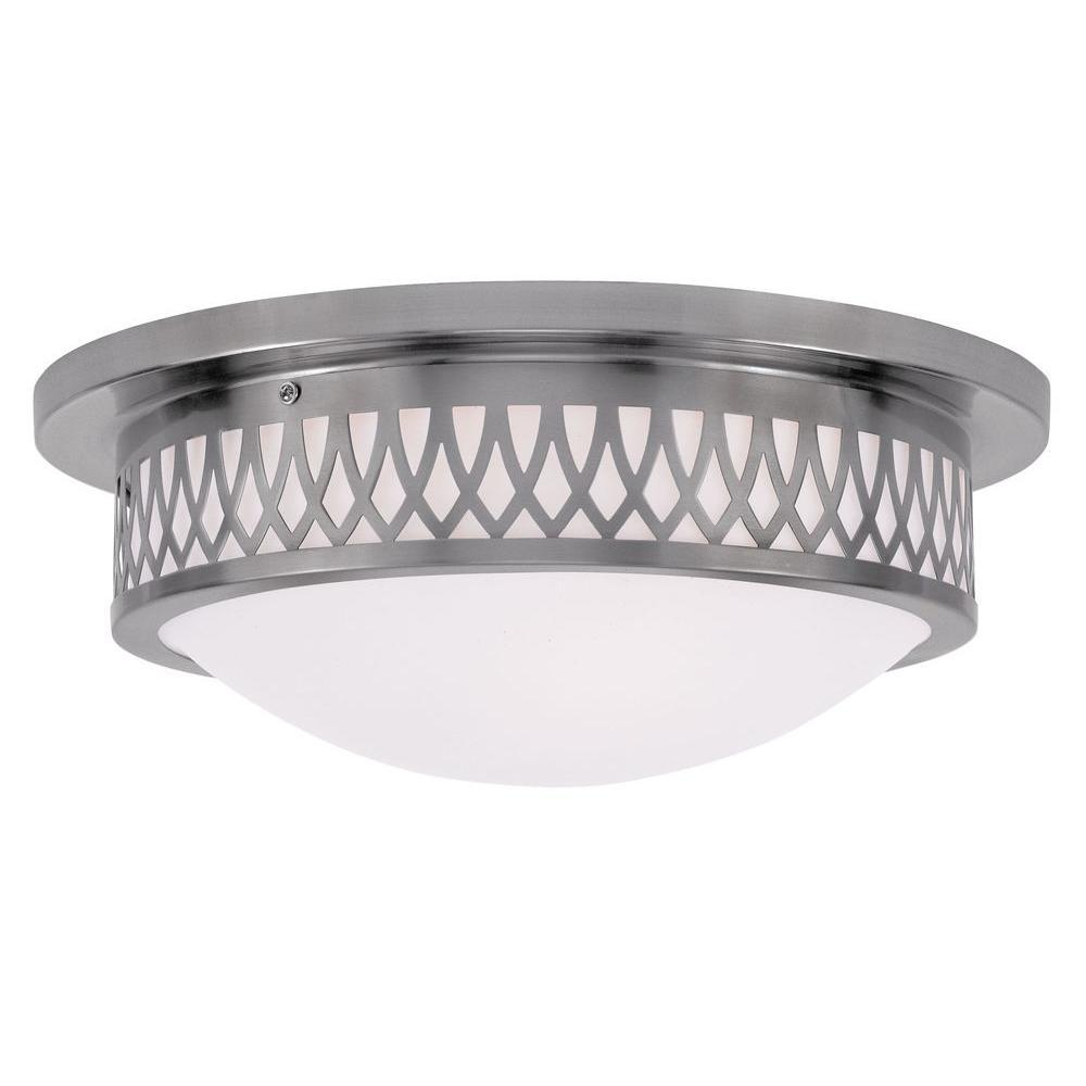 Livex Lighting Providence 3-Light Ceiling Brushed Nickel Incandescent Flush Mount