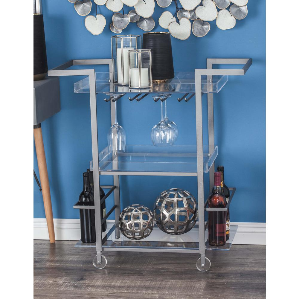 Silver-Finished Iron and Clear Acrylic 3-Tier Cart
